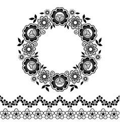 mandala lace pattern monochrome round vector image