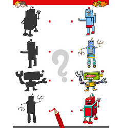 Match the shadows game with robots vector