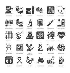 Medical check up flat glyph icons health vector
