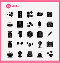 Medical solid glyph icons set for infographics vector