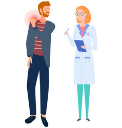 Medical specialist consults guy with sore shoulder vector