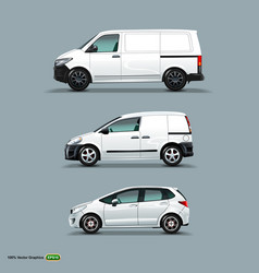 Mocup set of white car cargo van and delivery vector