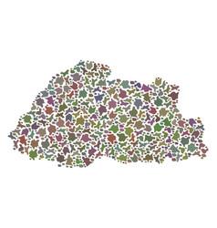 Mosaic map of bhutan of pebbles vector