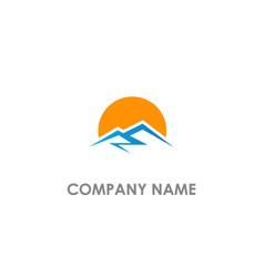 mountain sunset logo vector image