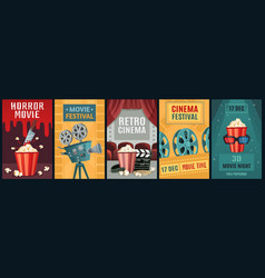 movie poster horror film cinema camera and retro vector image