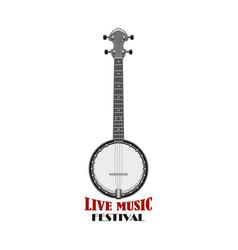 Music festival emblem design with banjo vector