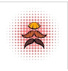 Mustache comics icon vector