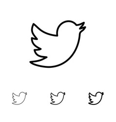 Network social twitter bold and thin black line vector