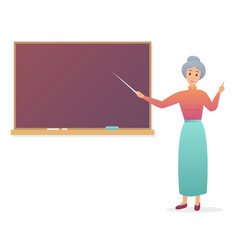 old woman teacher near blackboard trendy gradient vector image