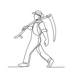 Organic farmer walking scycontinuous line vector