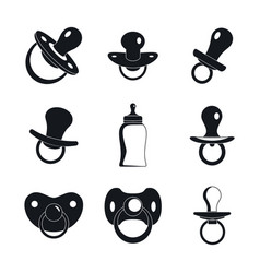 pacifier baby care newborn icons set simple style vector image