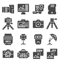 photography icons set eps10 digital vector image