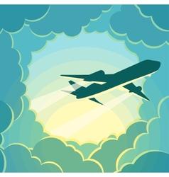 plane flies through clouds vector image