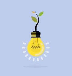 plant growing inside light bulbgreen eco vector image