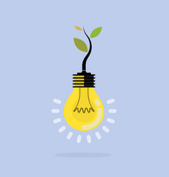 Plant growing inside the light bulbgreen eco vector