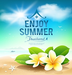 Plumeria flowers enjoy summer greeting card vector