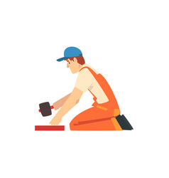 professional builder with rubber mallet male vector image