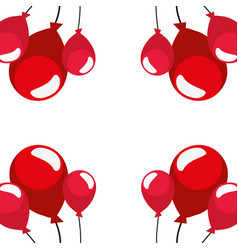 red balloons decoration on white background vector image