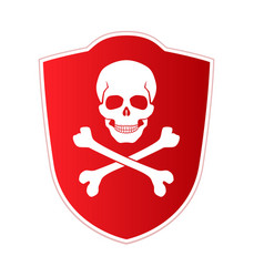 red shield with emblem of death and danger skull vector image