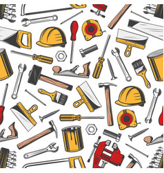 repair and building construction tools pattern vector image