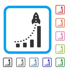 Rocket business bar chart framed icon vector