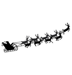 Santa flying in a sleigh with reindeer vector