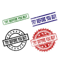 scratched textured try before you buy stamp seals vector image