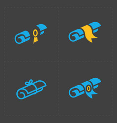 scrolls icons with ribbon on dark background vector image