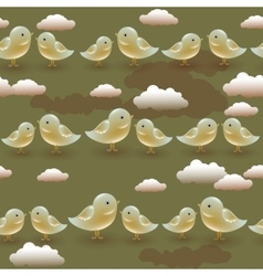 Seamless pattern with cartoon olive birds vector