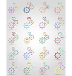 set icons gear mechanism concept 01 vector image