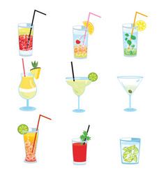 Set of alcoholic cocktails collection of vector