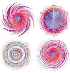 Set of four color spiral vector image