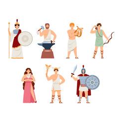 Set of goddesses and gods ancient greek mythology vector