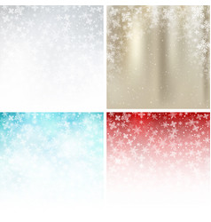 set of winter white gold blue red background vector image