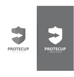 shield and arrow up logo combination vector image