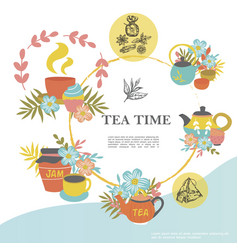 sketch tea time round concept vector image