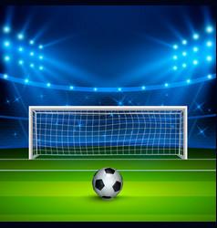 Soccer ball on green football field on stadium vector