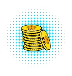 Stacks of gold coins icon comics style vector image