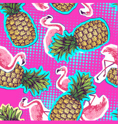 summer seamless bright pattern with flamingo an vector image