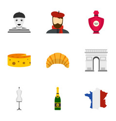symbols of paris icons set flat style vector image