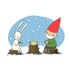 the gnome and the hare drink tea in the forest vector image