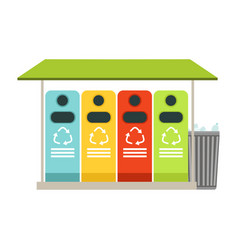 Trash recycling containers rubbish bins row vector