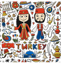 Travel to turkey greeting card for your design vector