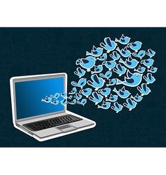 Twitter birds splash computer application vector