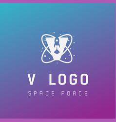 V initial space force logo design galaxy rocket vector
