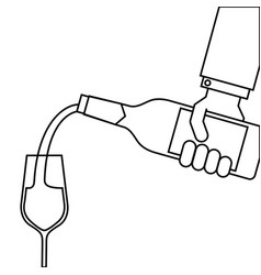 waiter hand holding a wine bottle and pouring vector image