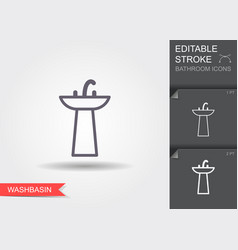washbasin line icon with editable stroke with vector image