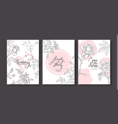 wedding invitation cards with hand drawn roses vector image