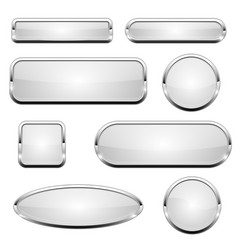 White glass 3d buttons with chrome frame set of vector