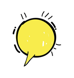 Yellow round chat bubble communication vector